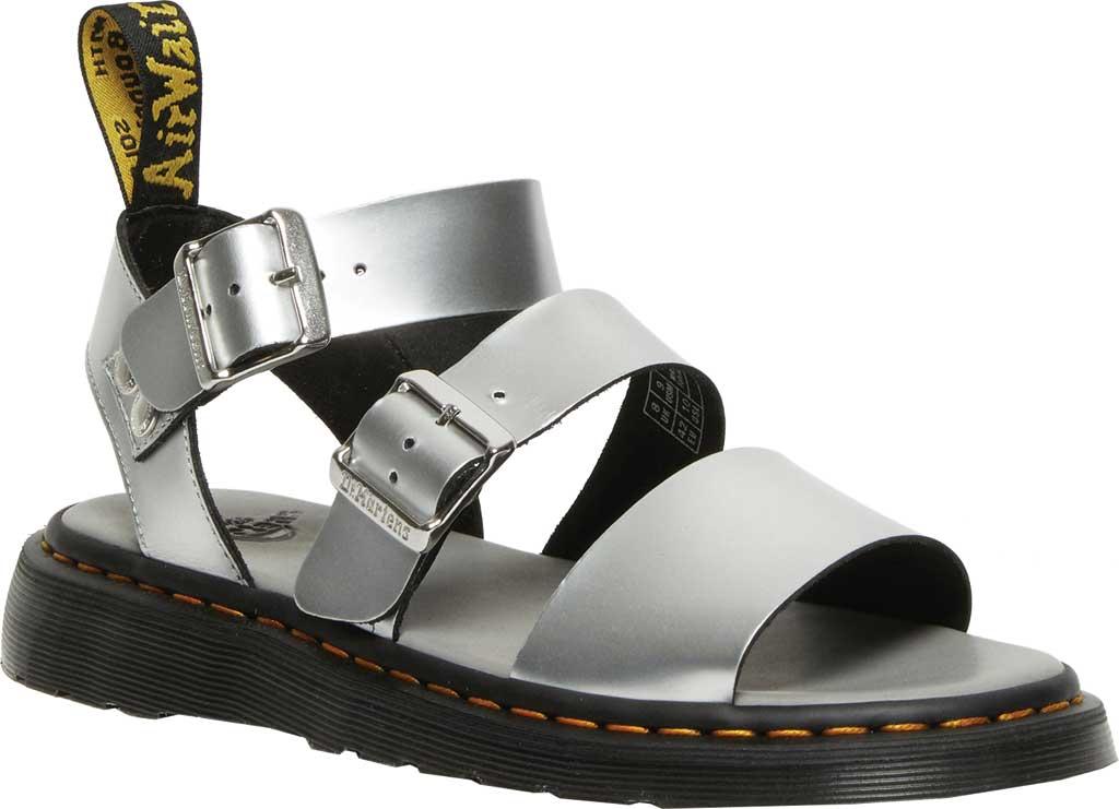 Dr. Martens Gryphon Metallic Calf Strap Sandal, Silver/Black Metallic Brush Calf, large, image 1