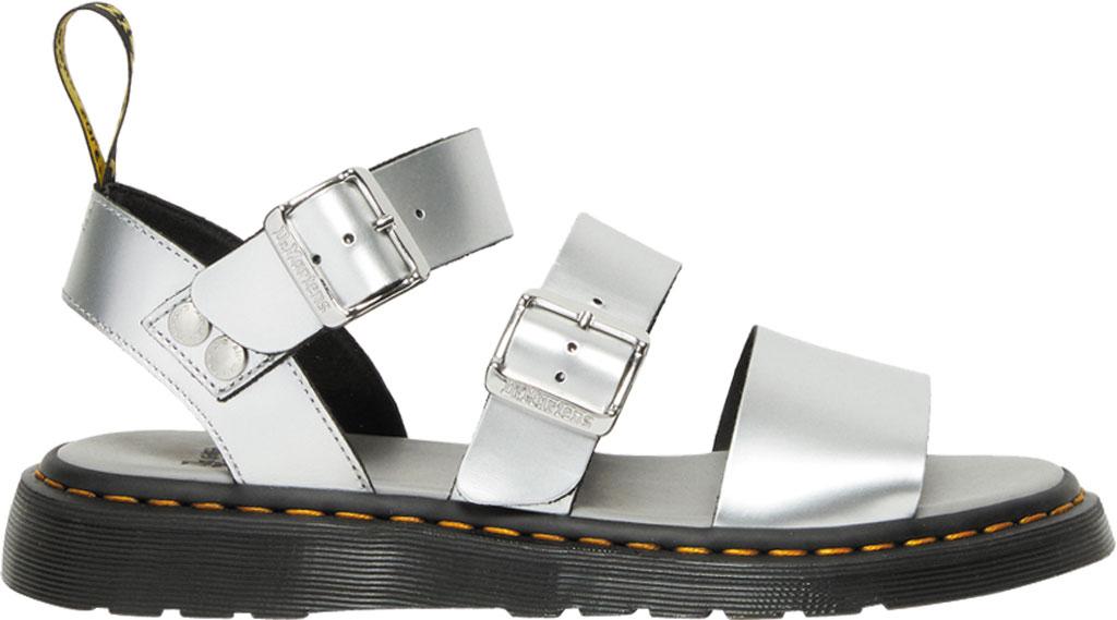 Dr. Martens Gryphon Metallic Calf Strap Sandal, Silver/Black Metallic Brush Calf, large, image 2