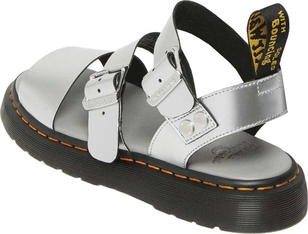 Dr. Martens Gryphon Metallic Calf Strap Sandal, Silver/Black Metallic Brush Calf, large, image 3