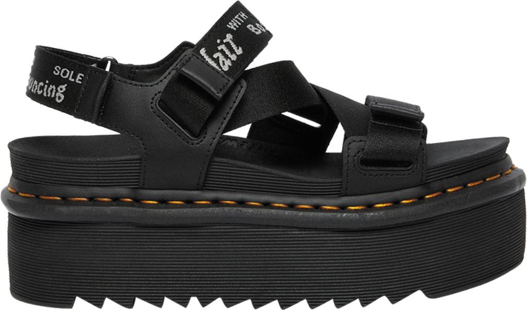 Women's Dr. Martens Kimber Sandal, Black/Black/Light Grey Hydro Leather/Logo Webbing, large, image 2