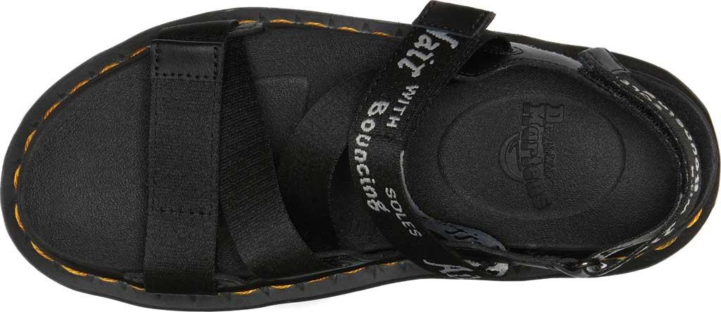 Women's Dr. Martens Kimber Sandal, Black/Black/Light Grey Hydro Leather/Logo Webbing, large, image 4