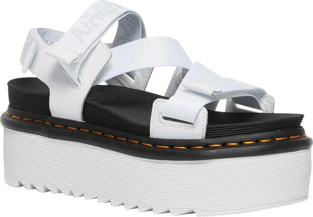 Women's Dr. Martens Kimber Sandal, White/White/Light Grey Hydro Leather/Logo Webbing, large, image 1