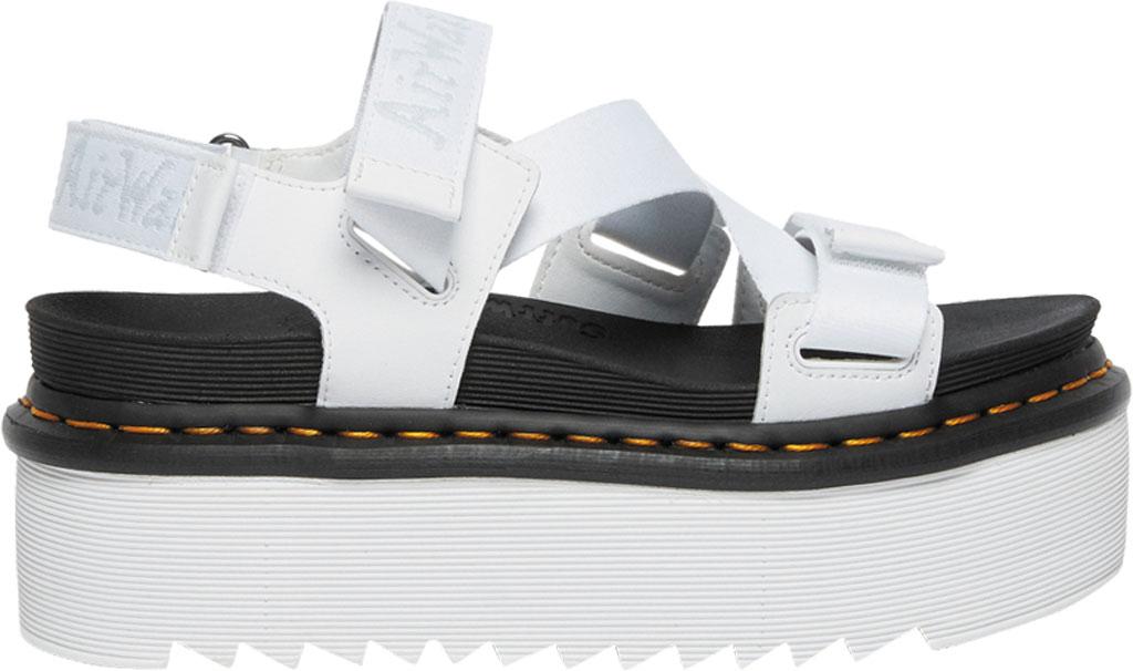 Women's Dr. Martens Kimber Sandal, White/White/Light Grey Hydro Leather/Logo Webbing, large, image 2