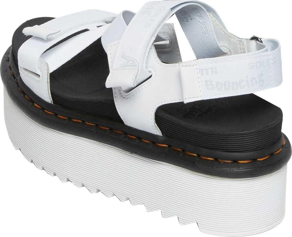 Women's Dr. Martens Kimber Sandal, White/White/Light Grey Hydro Leather/Logo Webbing, large, image 3