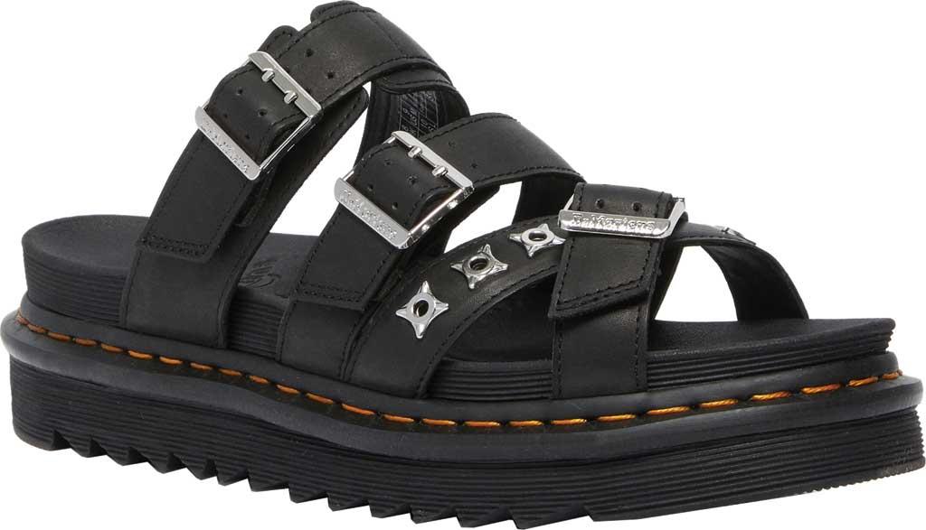 Dr. Martens Ryker II Hardware Slide Sandal, Black Temperley Antique Full Grain Leather, large, image 1
