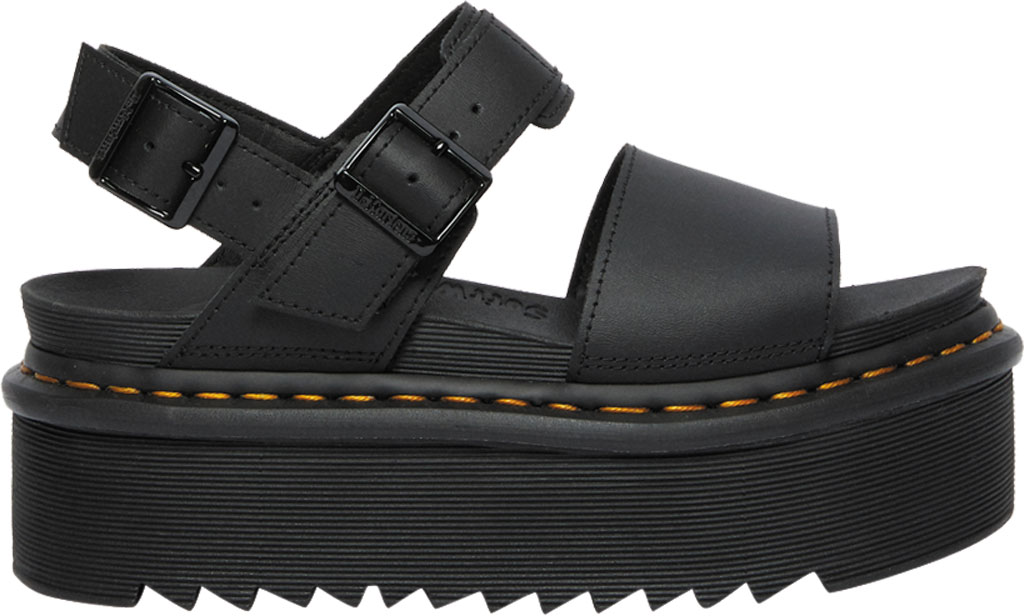 Women's Dr. Martens Voss Quad Sandal, Black Hydro Leather, large, image 2