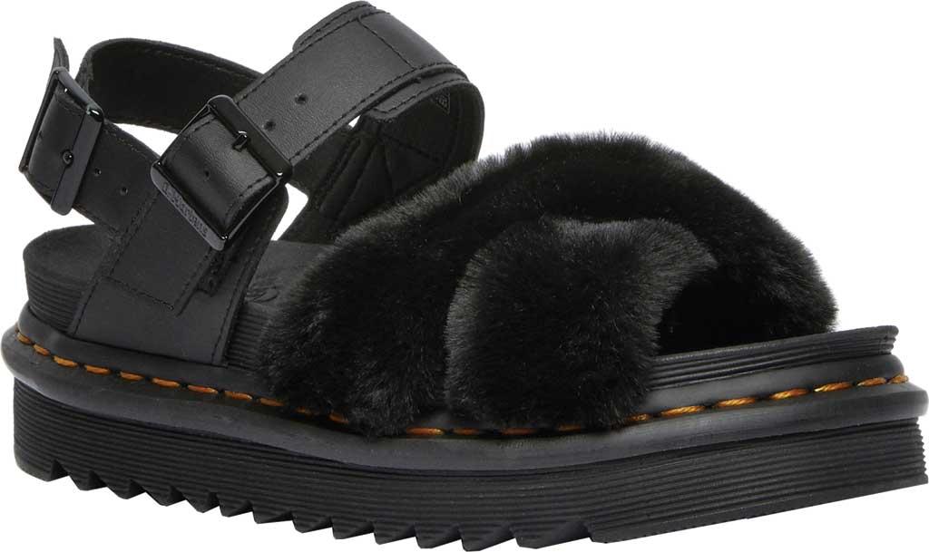 Women's Dr. Martens Voss II Fluffy Sandal, Black Milo Fur/Hydro Leather, large, image 1