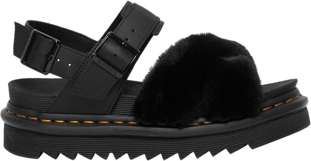 Women's Dr. Martens Voss II Fluffy Sandal, Black Milo Fur/Hydro Leather, large, image 2