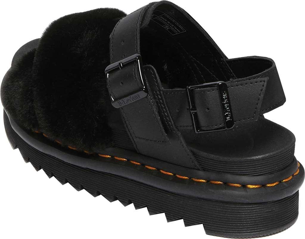 Women's Dr. Martens Voss II Fluffy Sandal, Black Milo Fur/Hydro Leather, large, image 3