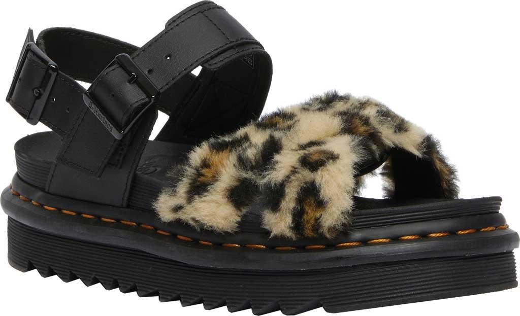 Women's Dr. Martens Voss II Fluffy Sandal, Tan/Black Leopard Faux Fur/Hydro Leather, large, image 1