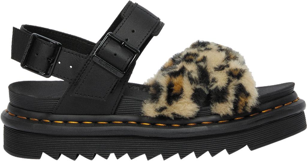 Women's Dr. Martens Voss II Fluffy Sandal, Tan/Black Leopard Faux Fur/Hydro Leather, large, image 2