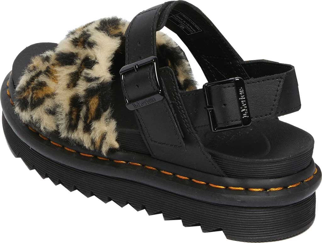 Women's Dr. Martens Voss II Fluffy Sandal, Tan/Black Leopard Faux Fur/Hydro Leather, large, image 3