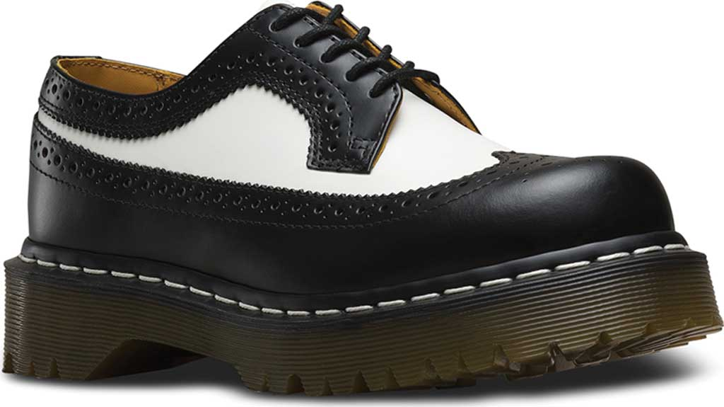 Dr. Martens 3989 5 Eye Brogue Bex Sole, Black/White Smooth Leather, large, image 1