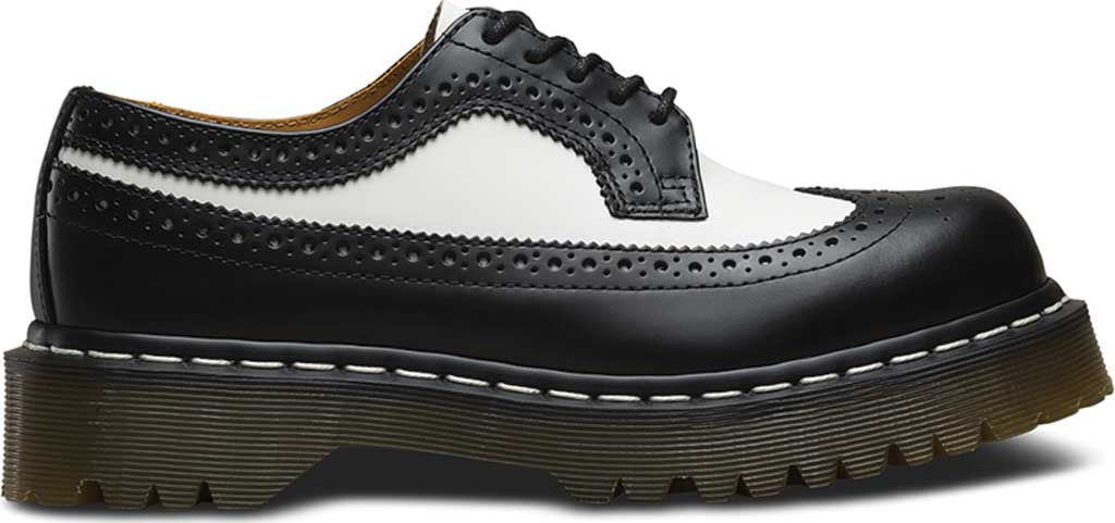 Dr. Martens 3989 5 Eye Brogue Bex Sole, Black/White Smooth Leather, large, image 2