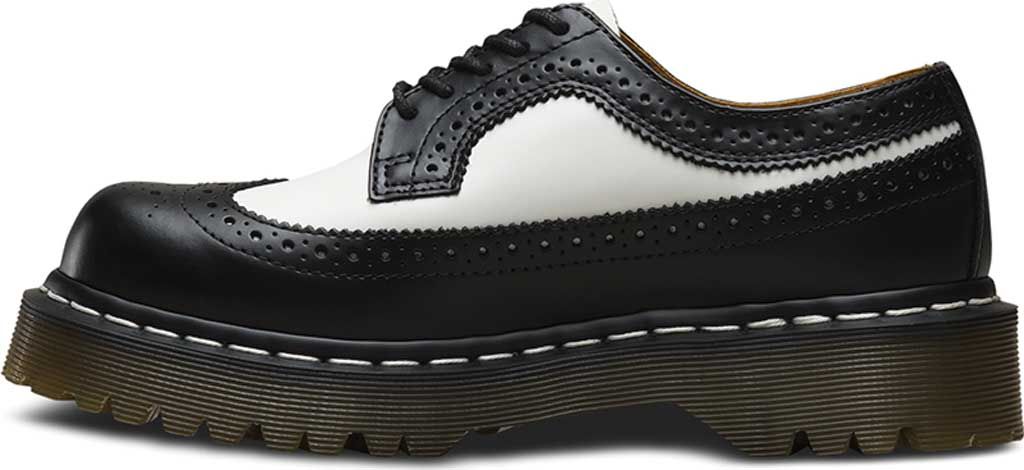 Dr. Martens 3989 5 Eye Brogue Bex Sole, Black/White Smooth Leather, large, image 3