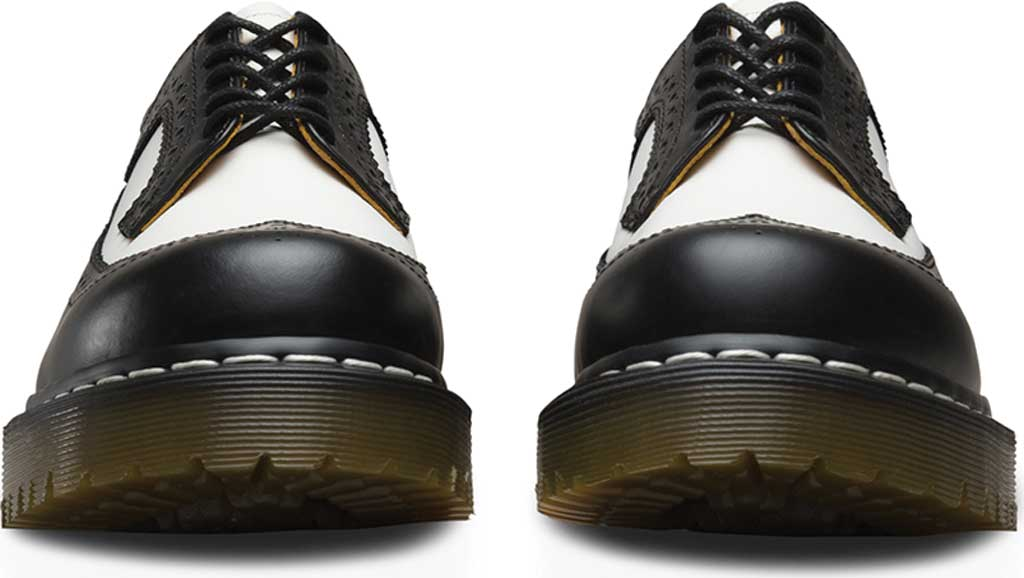Dr. Martens 3989 5 Eye Brogue Bex Sole, Black/White Smooth Leather, large, image 4