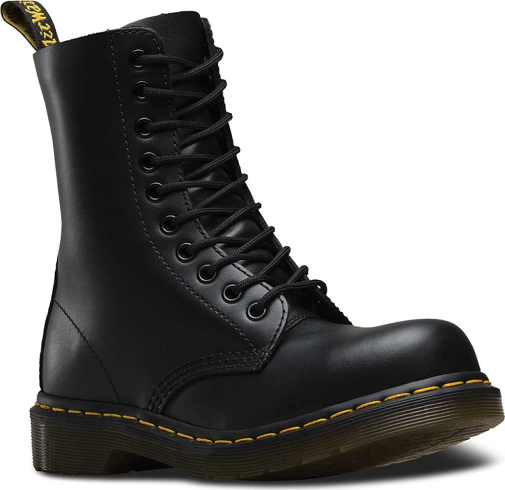 Dr. Martens 1919 10-Eye Steel Toe Boot, Black Fine Haircell, large, image 1