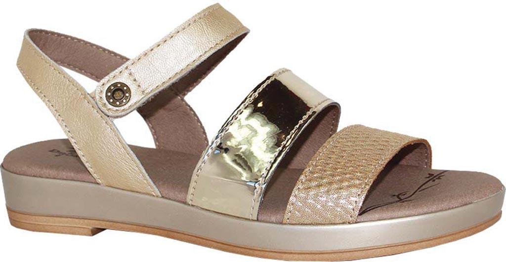 Women's Dromedaris Suzie Strappy Sandal, Platinum Metalized Leather, large, image 1