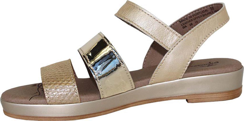 Women's Dromedaris Suzie Strappy Sandal, Platinum Metalized Leather, large, image 2