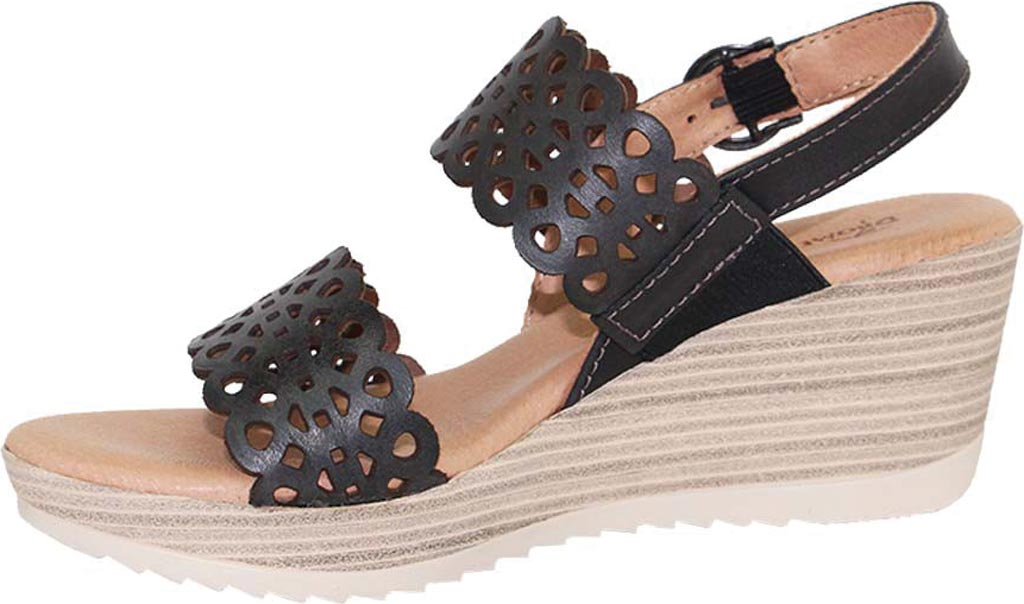 Women's Dromedaris Libby Quarter Strap Sandal, Black Waxed Leather, large, image 2