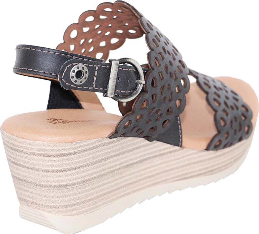 Women's Dromedaris Libby Quarter Strap Sandal, Black Waxed Leather, large, image 3