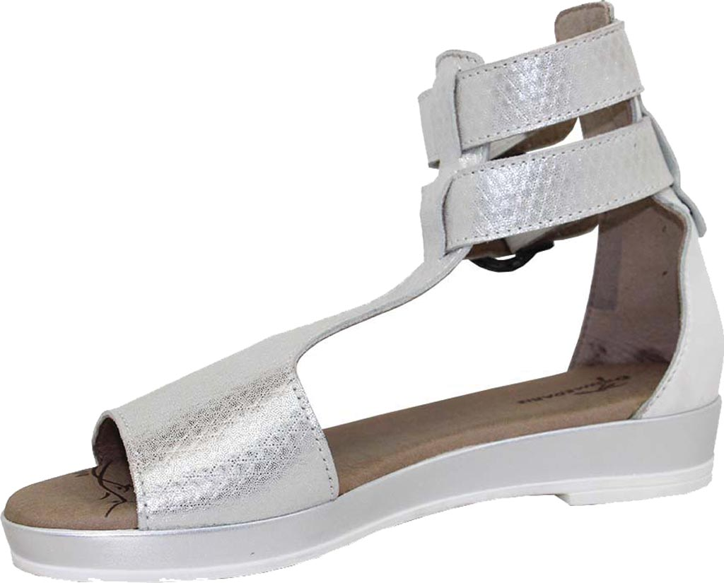 Women's Dromedaris Sophie Quarter Strap Sandal, Silver Metalized Leather, large, image 2