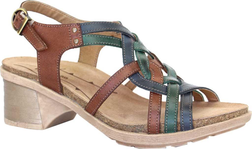 Women's Dromedaris Sasha Strappy Sandal, Cognac/Ocean Leather, large, image 1