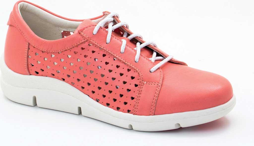 Women's Dromedaris Vivian Lace Up Sneaker, Coral Leather, large, image 1