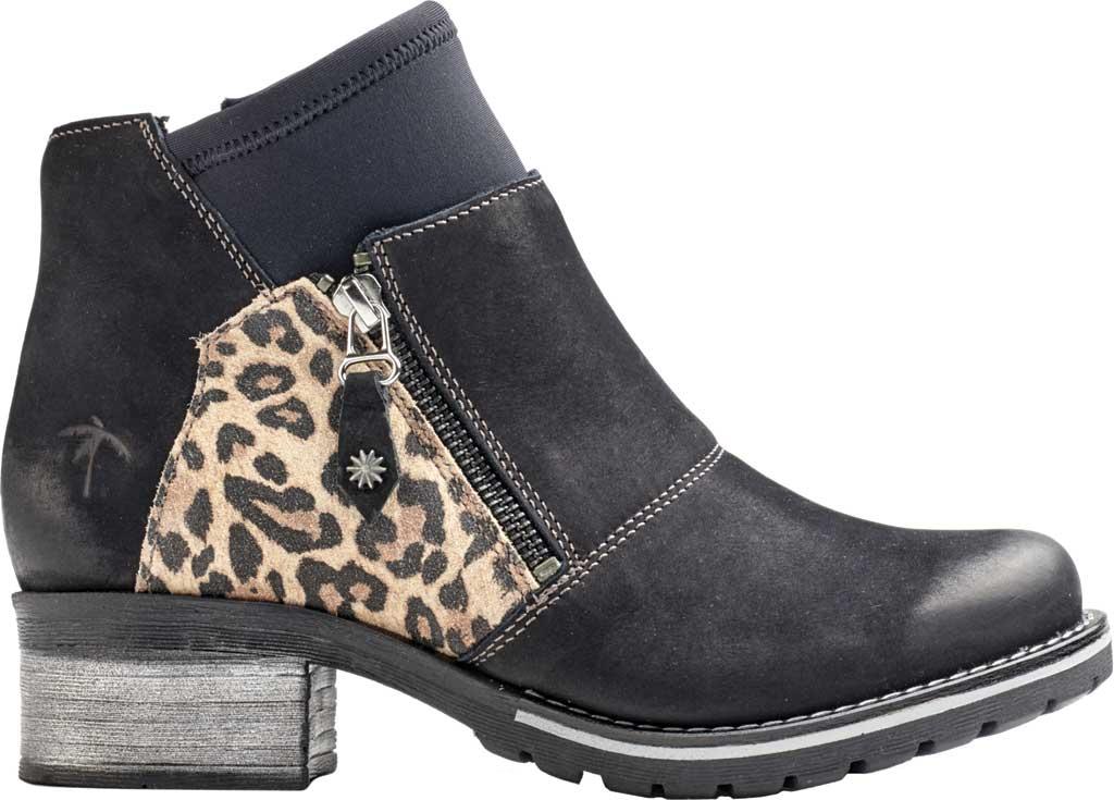 Women's Dromedaris Kihana Ankle Bootie, Black Leopard Leather, large, image 1