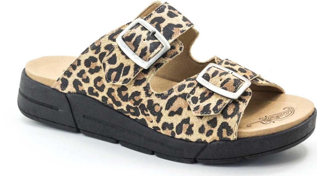 Women's Dromedaris Terry Slide, Leopard Suede, large, image 1