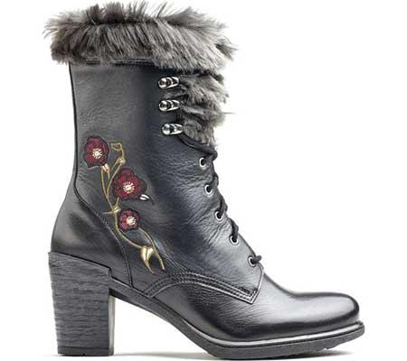 Women's Dromedaris Goldie Lace Up Mid Calf Boot, Black Leather, large, image 1