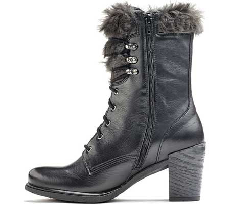 Women's Dromedaris Goldie Lace Up Mid Calf Boot, Black Leather, large, image 2