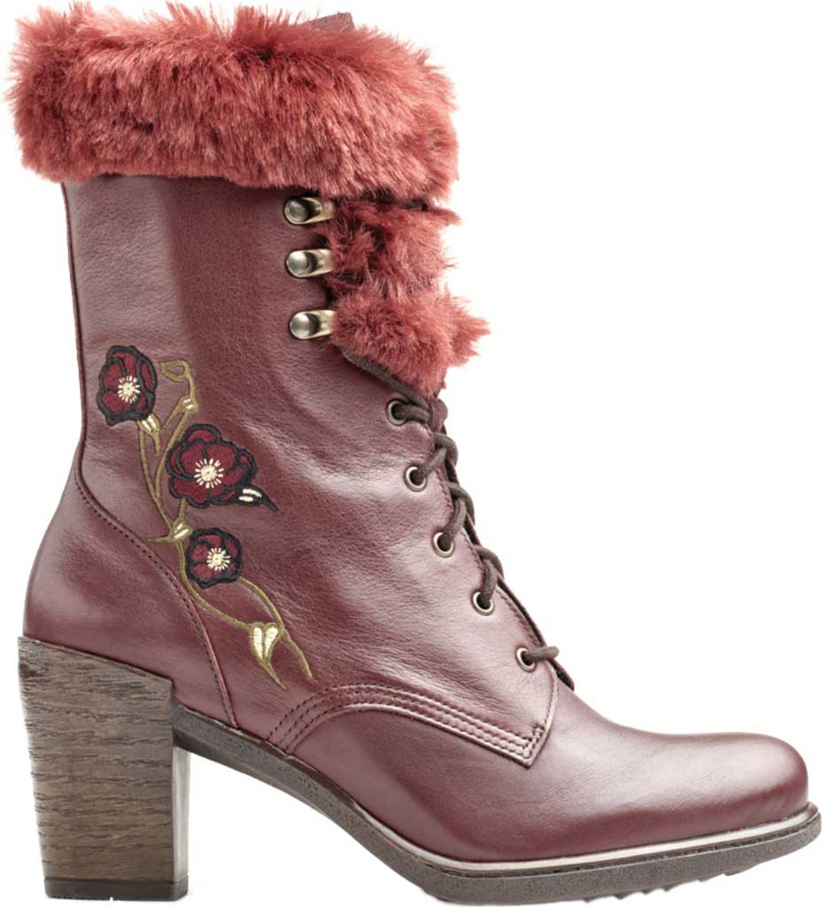 Women's Dromedaris Goldie Lace Up Mid Calf Boot, Wine Leather, large, image 1
