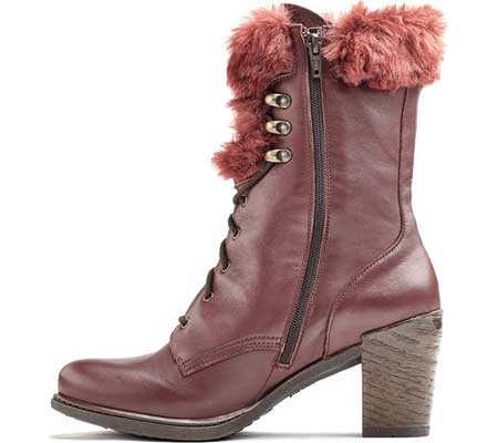 Women's Dromedaris Goldie Lace Up Mid Calf Boot, Wine Leather, large, image 2