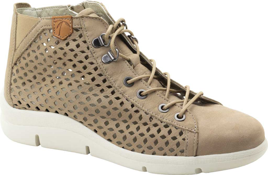 Women's Dromedaris Victoria Perforated High Top Sneaker, Taupe Leather, large, image 1