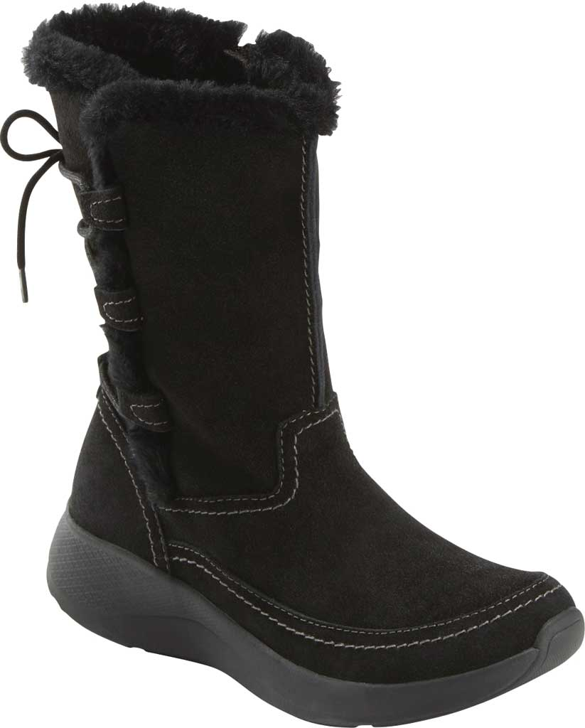 Women's Earth Origins Drift Delaney Mid Calf Boot, Black Water Resistant Suede Eco, large, image 1