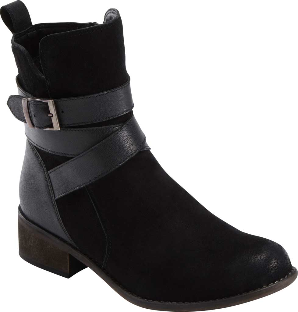 Women's Earth Woodland Hayley Ankle Bootie, Black Waxed Suede, large, image 1
