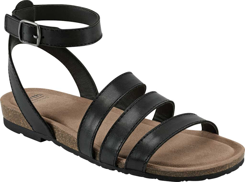 Women's Earth Origins Leesa Ankle Strap Sandal, Black Eco Calf Leather, large, image 1