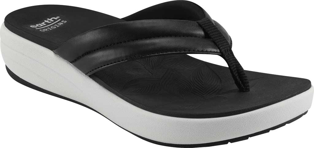 Women's Earth Origins Glen Vegan Wedge Flip Flop, Black Calf PU, large, image 1