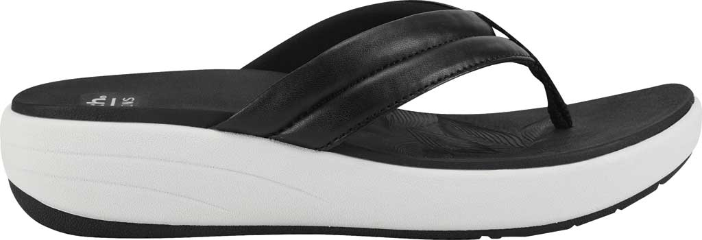 Women's Earth Origins Glen Vegan Wedge Flip Flop, Black Calf PU, large, image 2