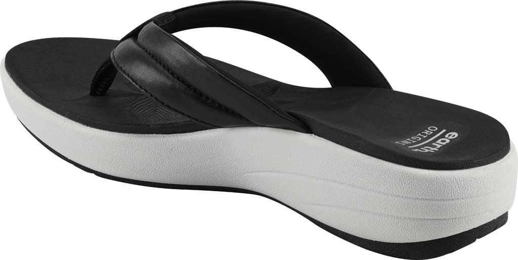 Women's Earth Origins Glen Vegan Wedge Flip Flop, Black Calf PU, large, image 3