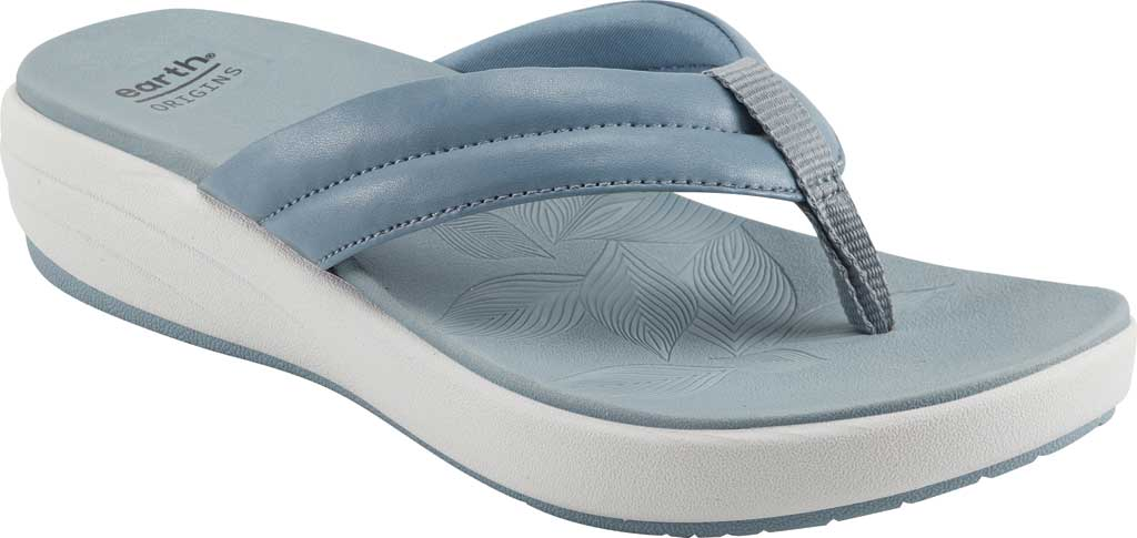 Women's Earth Origins Glen Vegan Wedge Flip Flop, Light Blue Calf PU, large, image 1