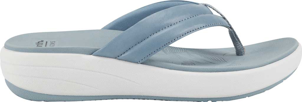 Women's Earth Origins Glen Vegan Wedge Flip Flop, Light Blue Calf PU, large, image 2