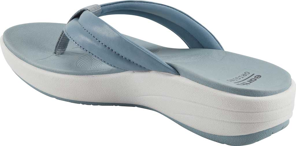 Women's Earth Origins Glen Vegan Wedge Flip Flop, Light Blue Calf PU, large, image 3