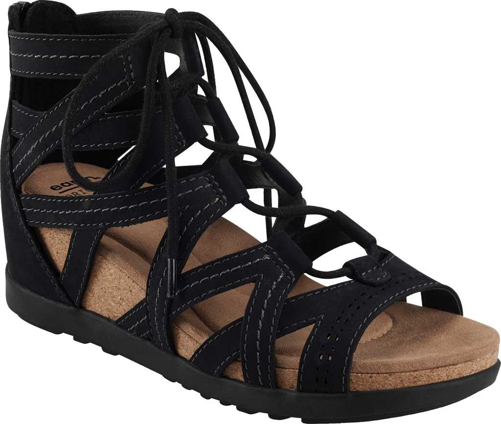 Women's Earth Origins Corie Wedge Gladiator Sandal, Black Vintage Cookie II Nubuck, large, image 1