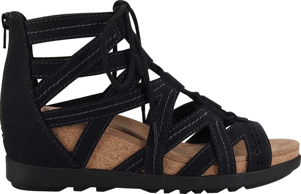 Women's Earth Origins Corie Wedge Gladiator Sandal, Black Vintage Cookie II Nubuck, large, image 2