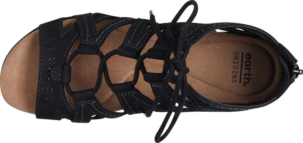 Women's Earth Origins Corie Wedge Gladiator Sandal, Black Vintage Cookie II Nubuck, large, image 4