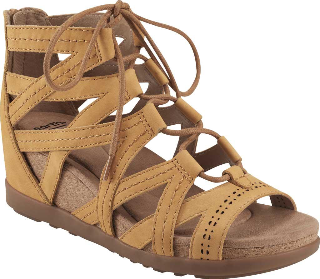 Women's Earth Origins Corie Wedge Gladiator Sandal, Amber Yellow Vintage Cookie II Nubuck, large, image 1