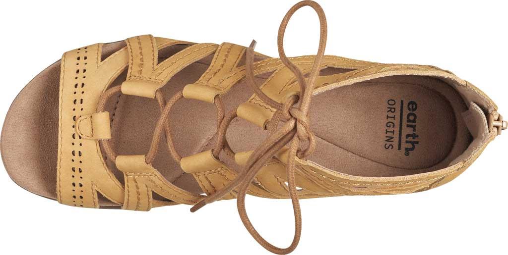 Women's Earth Origins Corie Wedge Gladiator Sandal, Amber Yellow Vintage Cookie II Nubuck, large, image 4