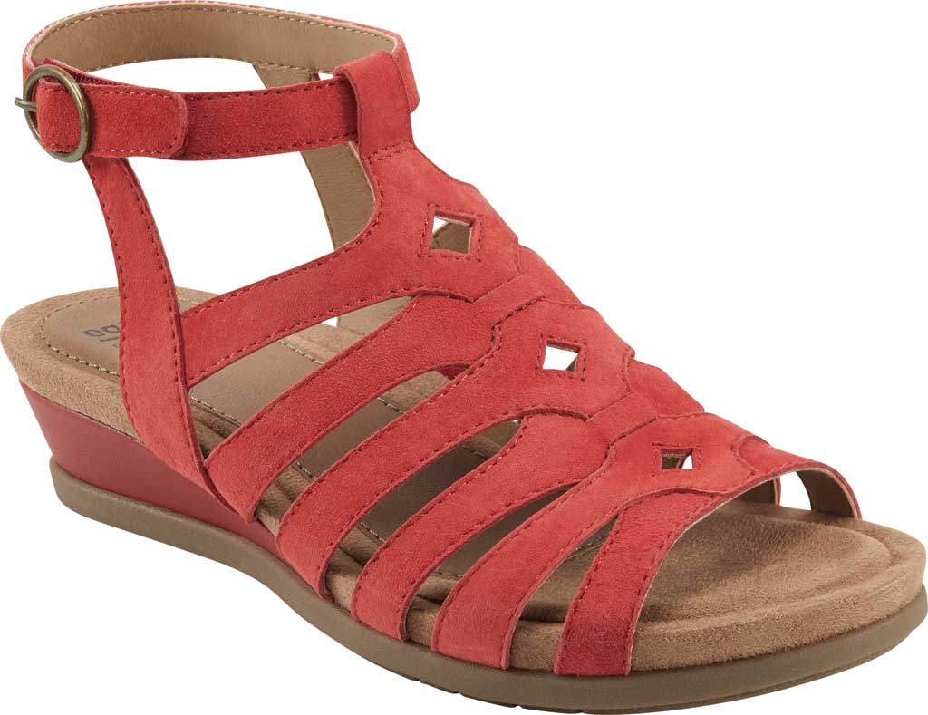 Women's Earth Origins Pippa Gladiator Sandal, Spicy Red Kid Suede, large, image 1